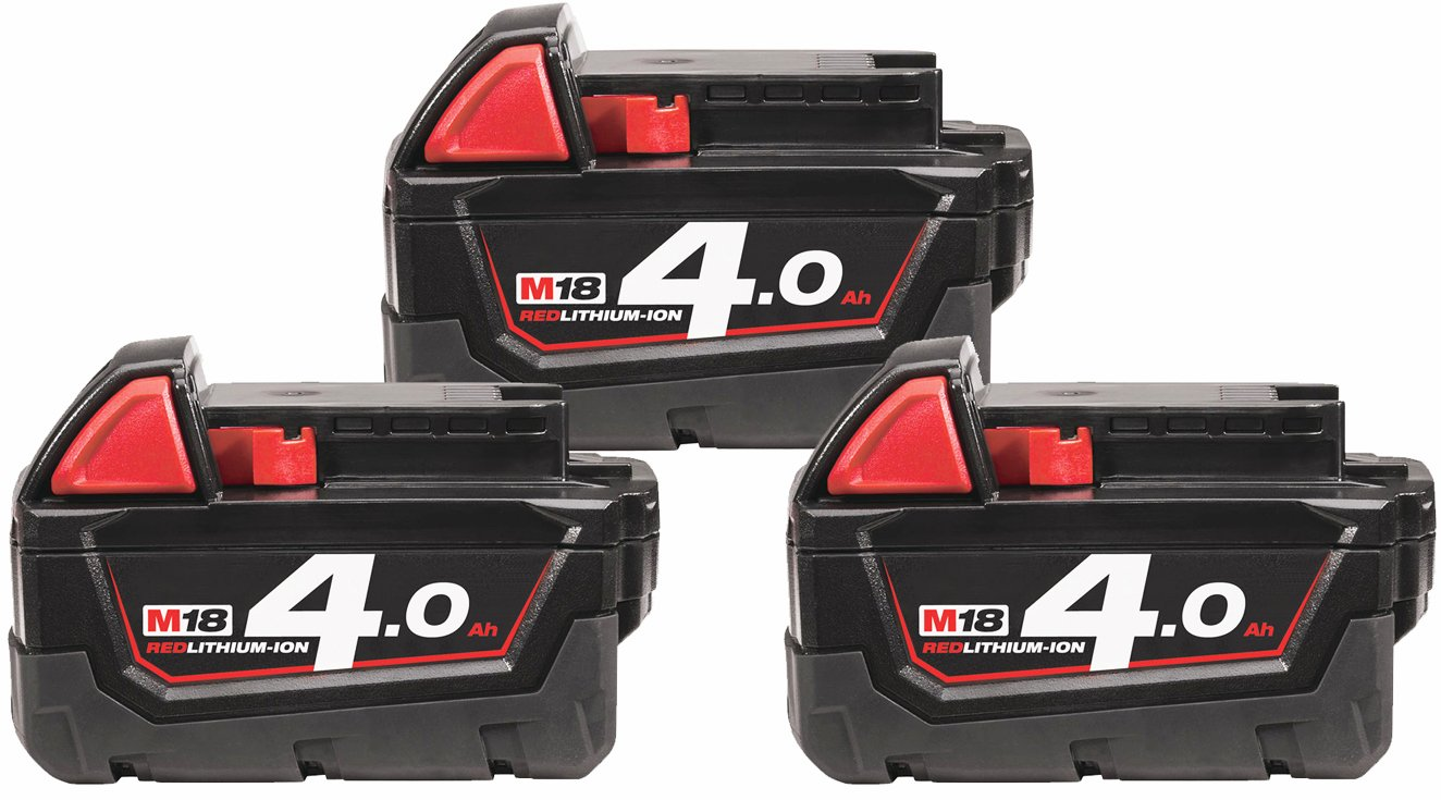 3 stk Milwaukee batterier 18 volt 4.0Ah